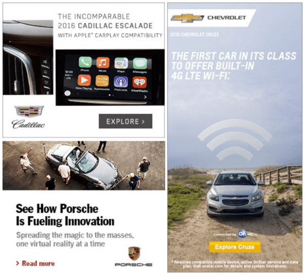 Porsche banner ad example focused on innovation