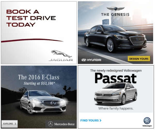auto banner ad examples with different call to action buttons