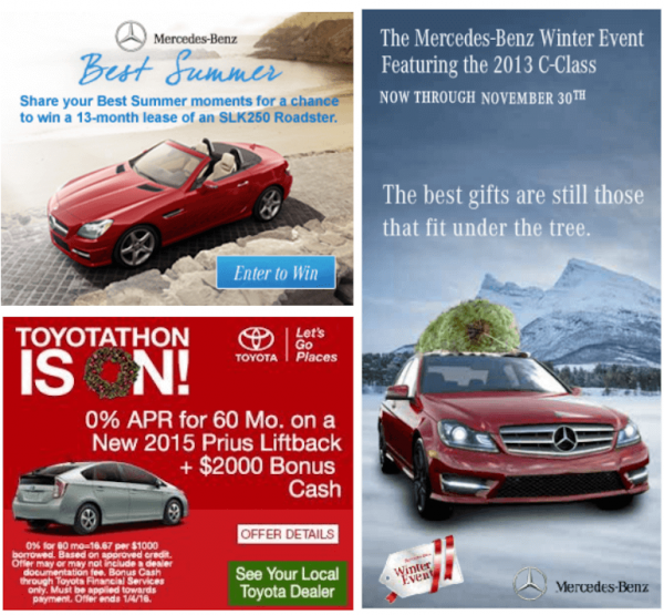 car banner ads for Christmas examples