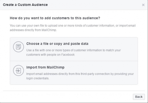 Facebook import email list screen