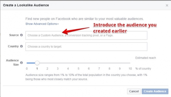 Facebook create lookalike audience screen