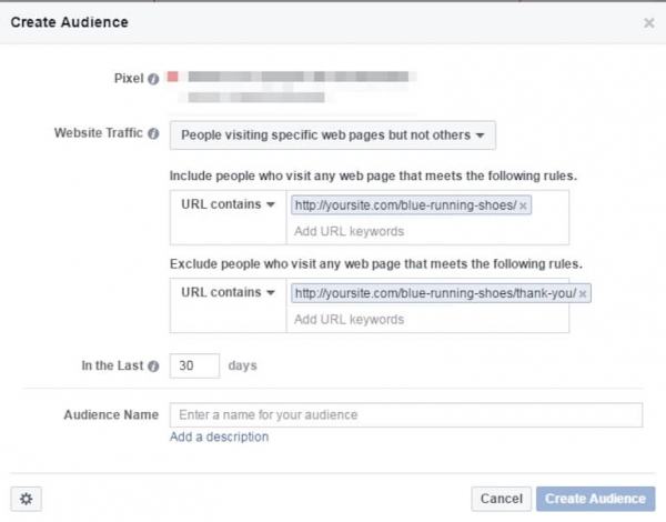 Facebook create audience screen