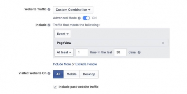 Facebook audience custom combination screen