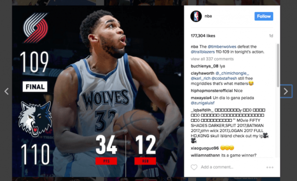 NBA Instagram feed