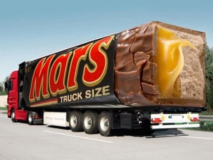 Bus advertising campaign for Mars Truck Size