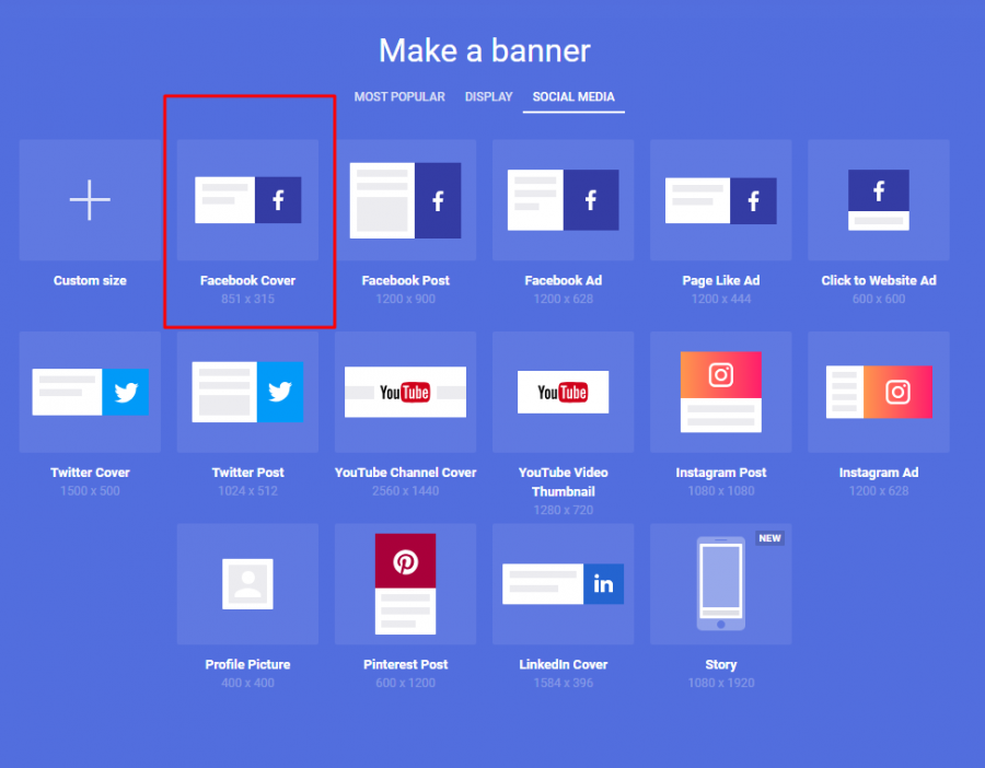 create a facebook cover in bannersnack
