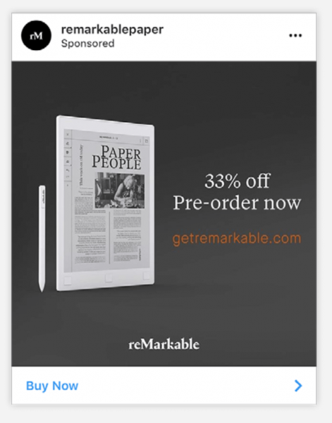 Remarkablepaper Instagram ads