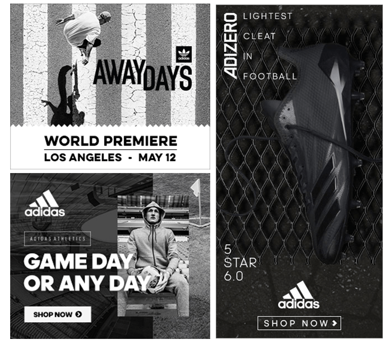 Adidas black and white banner example