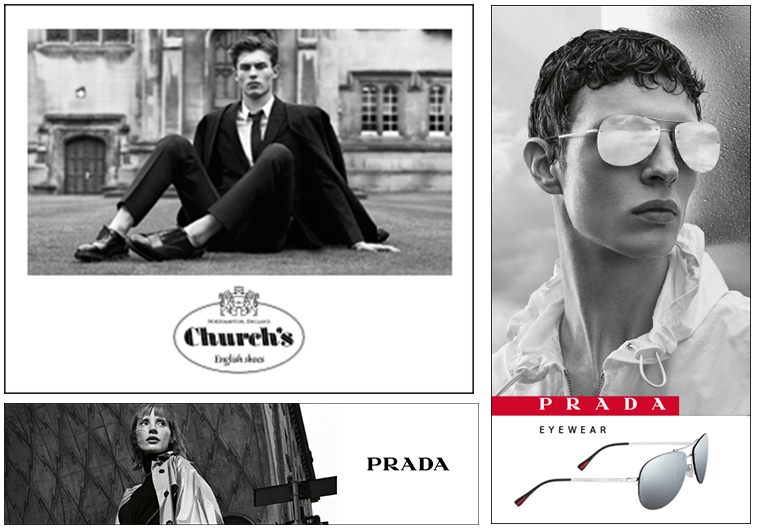Prada black and white banner ad