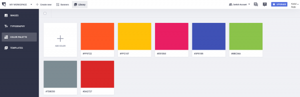 upload colors in mood board creator
