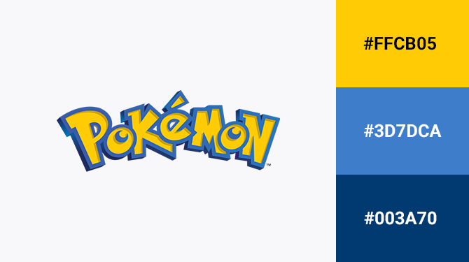 blue and yellow logo pokemon