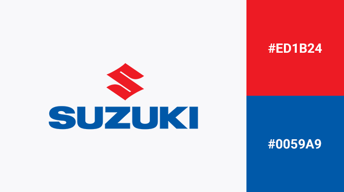 logos with red and blue suzuki